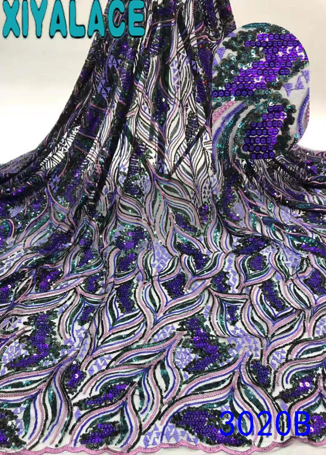 Hot Sale Sequence Lace Fabric Latest Nigerian Lace Fabric 2019 High Quality Tulle Laces For Asoebi Party KS3020B