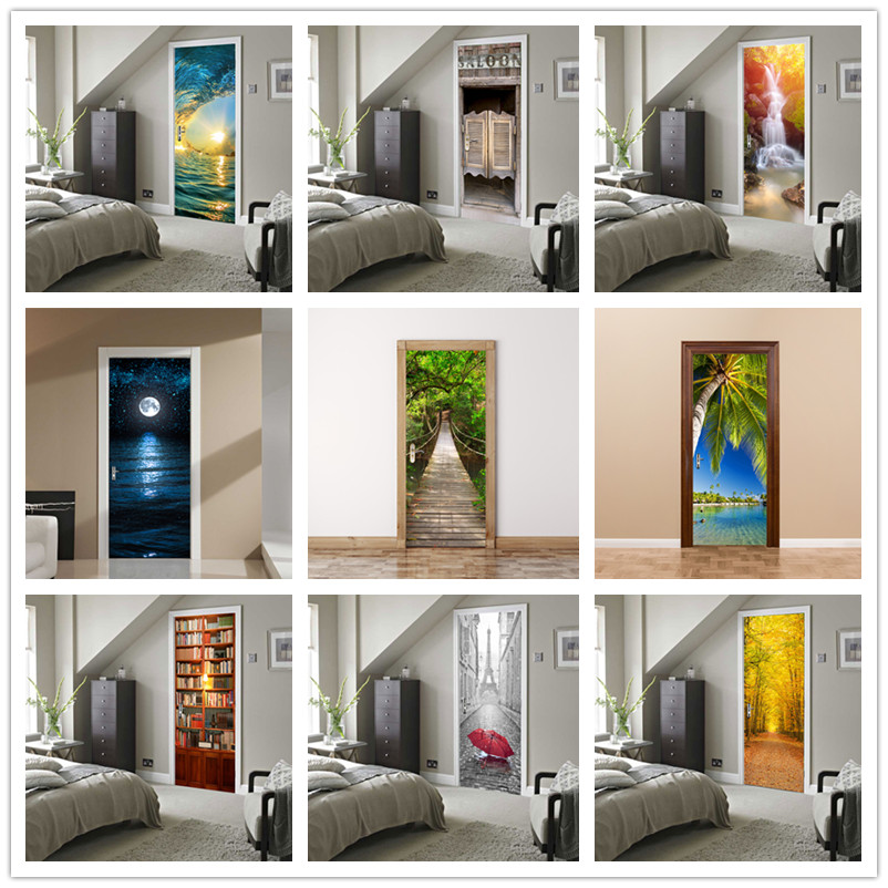 Custom Size 3D Beautiful Landscape Door Stickers For Living Room Bedroom PVC Adhesive Wallpaper Home Decor Waterproof Door Decal