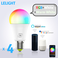 Smart Light Bulb LED RGBCW led flame lamp E27 7W WiFi Bulbs Compatible with Amazon Alexa Google Home Smartphone
