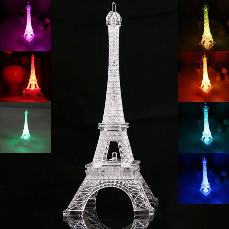 P2018 creativo 3D romántico torre de Francia/torre de París LED luz de noche RGB dormitorio lámpara de mesa decoración familiar niños PCMMA 80 mini cabezas 1PC DIY Flor de Gypsophila planta de silicona falsa para la boda adornos de fiesta doméstica 8 colores