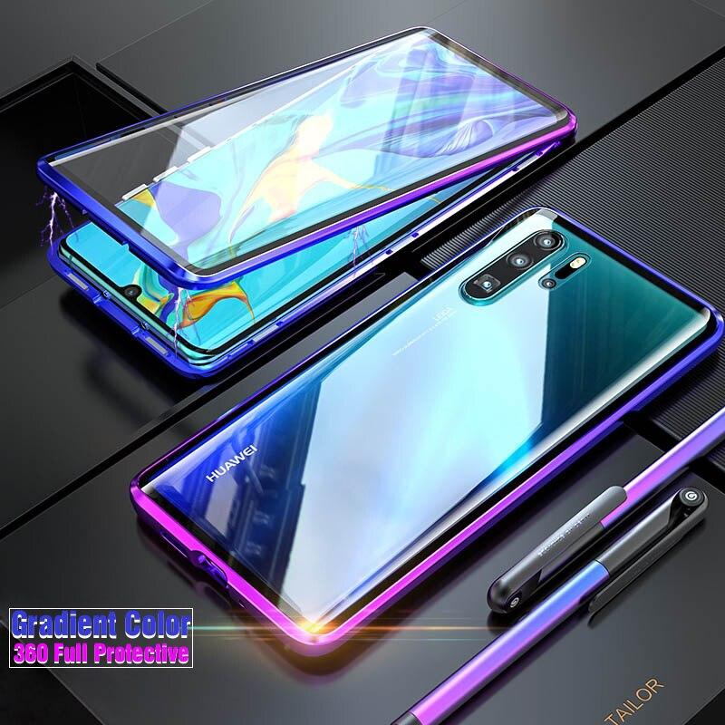 Luxo Bumper de Metal Magnético, tampa Do caso Para Huawei Companheiro P30 Pro P20 20 360 Vidro de Corpo Inteiro Armadura Caso a Caixa Do Telefone Huawei P30 P 30