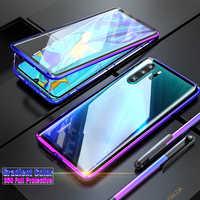 Pare-chocs magnétique en métal de luxe, étui pour Huawei P30 Pro P20 Mate 20 couverture 360 coque de téléphone en verre pleine coque de téléphone Huawei P30 armure P 30