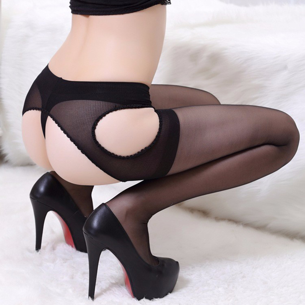 Women Sexy Open Crotch Pantyhose Women Ultra-thin Semitransparent Design Pantyhose Intimates Medias Sexy Costumes image