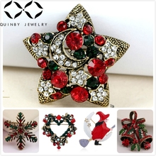 Christmas Crystal Brooches For Women Gift XMAS Jingle Bells Snowflake Brooch Pin Rhinestone Leaf Star Girl Metal Broches Q5