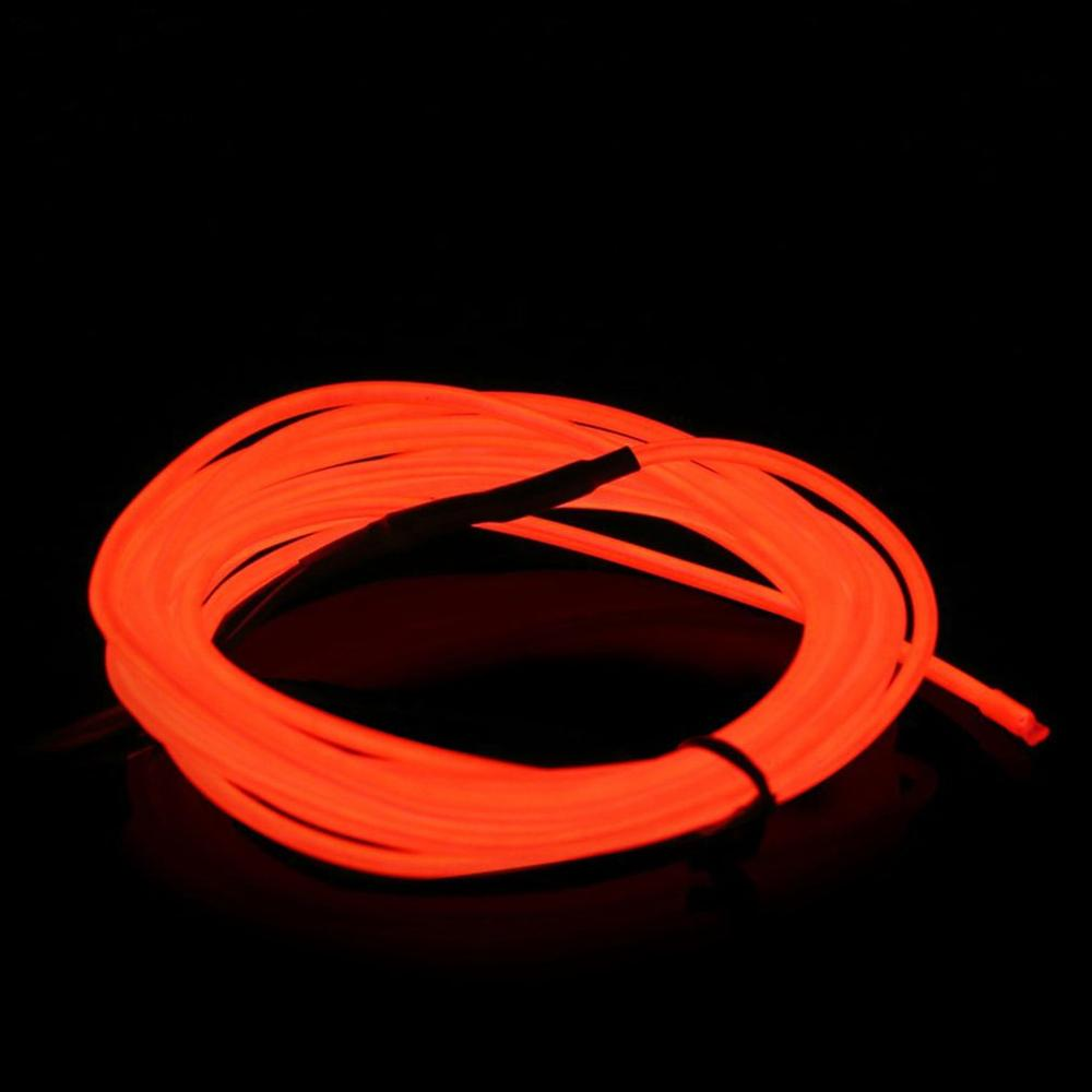 Battery Operated Luminescent Neon 2.3mm LED Lights Glow Wire String Strip Rope EL Wire String Strip Rope Tube Red