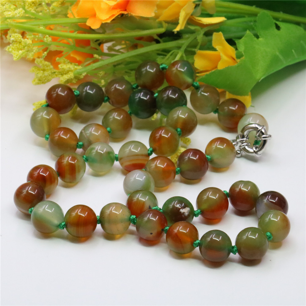 8/10/12mm Classic Bohemia Style Natural Stone Green Agates Round Beads Women's Jewelry Necklace Chain Prom Gift 18inch Y764