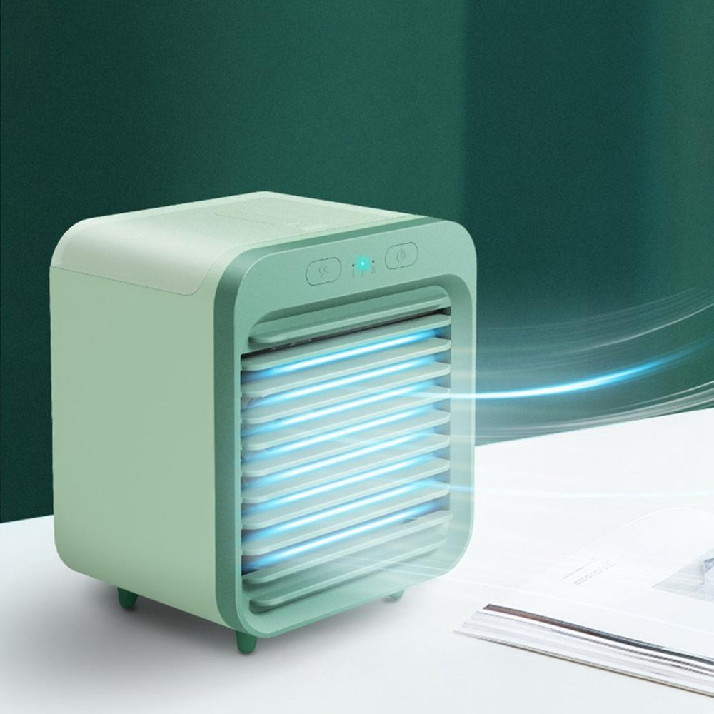 2020 New Mini USB Portable Air Cooler Fan Air Conditioner Light Desktop Air Cooling Fan Humidifier Purifier For Office Bedroom(China)