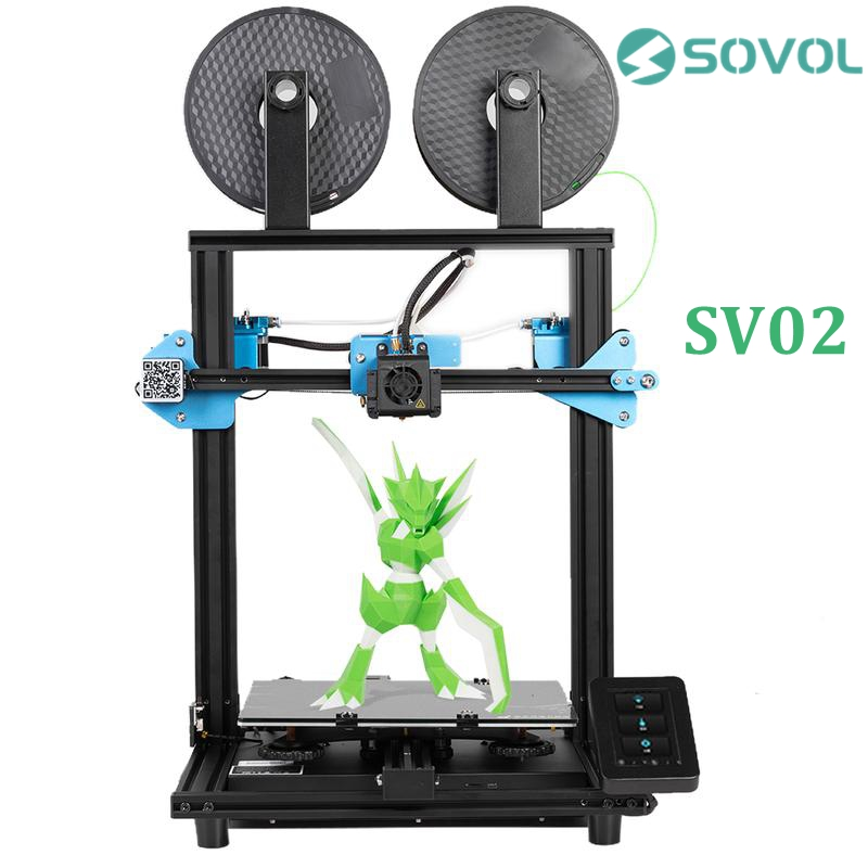 Sovol SV02 3D Printer All Metal Dual Extruder TMC2208 Drive Silent Mainboard Meanwell Power Tempered Glass Bed 280*240*300mm 3D Printers  - AliExpress