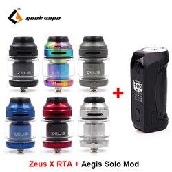Geekvape Zeus X RTA 4.5ml capaciteit Vape tank met Aegis Solo doos Mod 100W Vape mod door 18650 batterij waterdichte E Sigaret