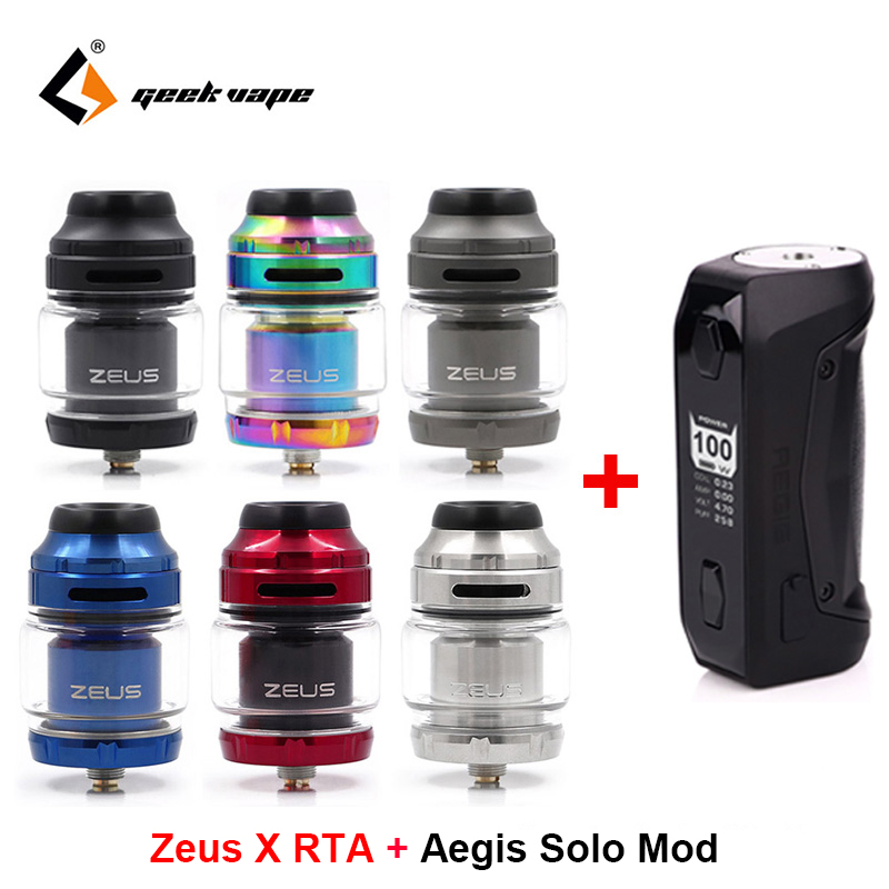Geekvape Zeus X RTA 4.5ml Capacity Vape Tank With Aegis Solo Box Mod 100W Vape Mod By 18650 Battery Waterproof E Cigarette