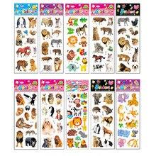 10 hojas diferentes de Pegatinas con dibujos animados en 3D para niños, divertido para juguete álbum de recortes, teléfono, portátil, regalos, animales, tigre