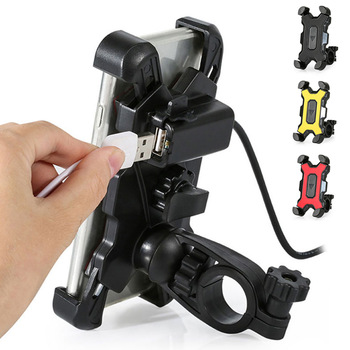 Bicycle Mobile Phone Holder Handlebar Mirror USB Charger Bracket Bike Motorcycle Cell phone Stand For Smartphone Accessories 1