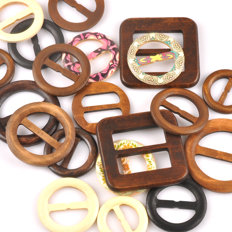 1-5 Pcs Natural Wood Belt Buckle For Luggage Women Dress Overcoat Windcoat Decoration Garment Accessories DIY Mt2591