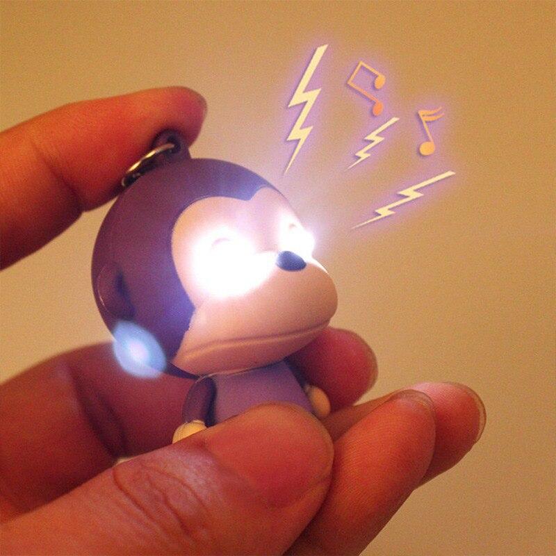Fashion Lovely Cartoon Monkey Keychain With LED Light Sound Keychain Kids Toy Gift Decorate Bag Keyring