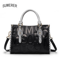 SUWERER 2020 New Women Genuine Leather Bag fashion Luxury handbags famous brand leather bag real cowhide bag big tote bag suwerer 2018 new women genuine leather bag famous brand fashion luxury cowhide handbags handmade embossing leather art bags