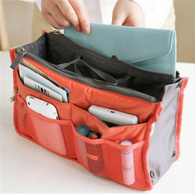 Ladies Cosmetic Bag Handbag Organiser Insert Liner Travel Bag Organizer Large Purse /BY