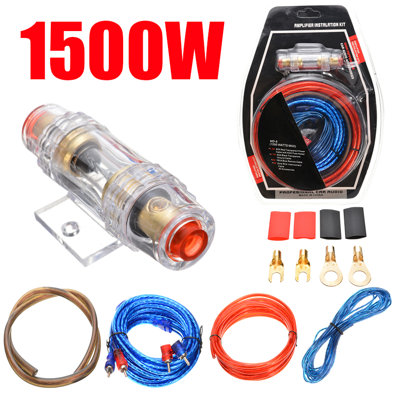 1500W Car Audio Kit Amp Amplifier RCA Sub Woofer Wiring Kit Wire Cable Fuse For Electrical Equipment Supplies