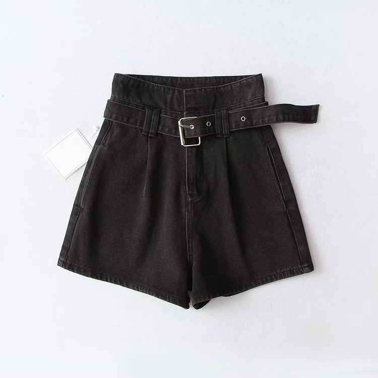 Tide Vogue Female High Waist Sashes Denim Shorts Solid Summer Casual Blue/Black/Sky Blue Loose Shorts