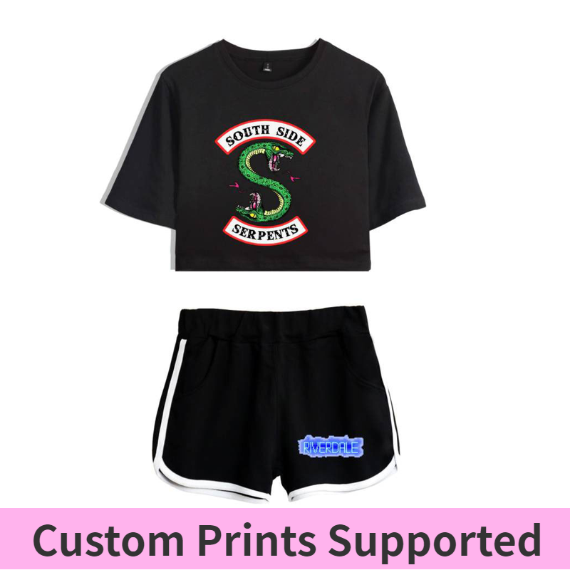 LUCKYFRIDAY 2018 riverdale t shirt Two-Piece Summer Print T-Shirt Women's Suit Fashion Top + Shorts south side serpents