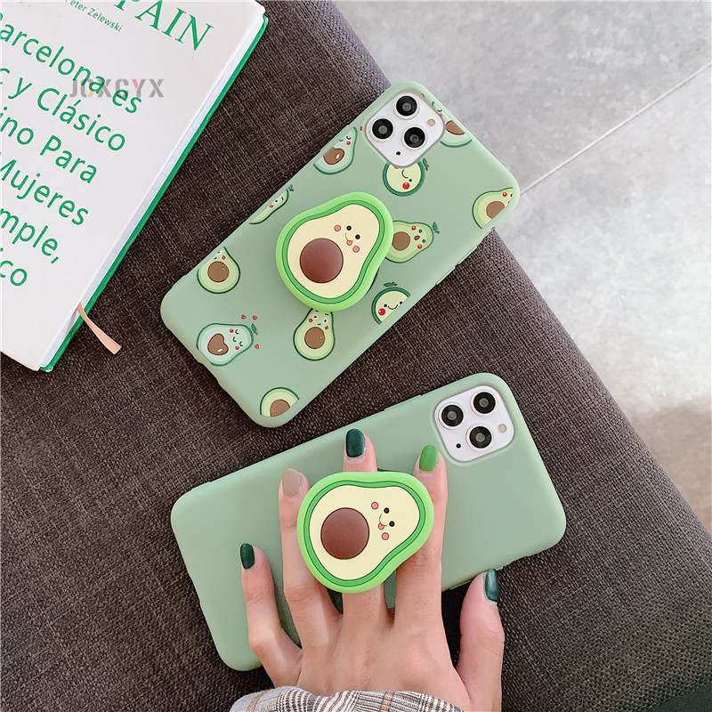 3D Luxury cute cartoon fruit avocado Soft silicone phone case for iphone X XR XS 11 Pro Max 6S 7 8 plus Holder cover gift coque(China)