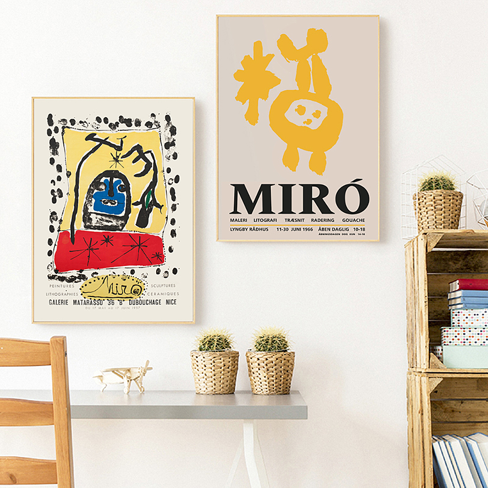 Nordic Vintage Abstract Posters and Prints Famous Joan Miro Exhibition Painting Wall Art Pictures Bedroom Readroom Home Decor