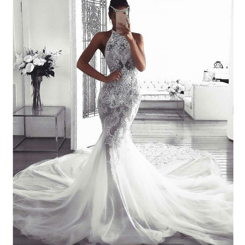 Sexy Halter Mermaid Wedding Dress Luxury Lace Appliques Wedding Gowns With Tulle Court Train Robe De Mariee
