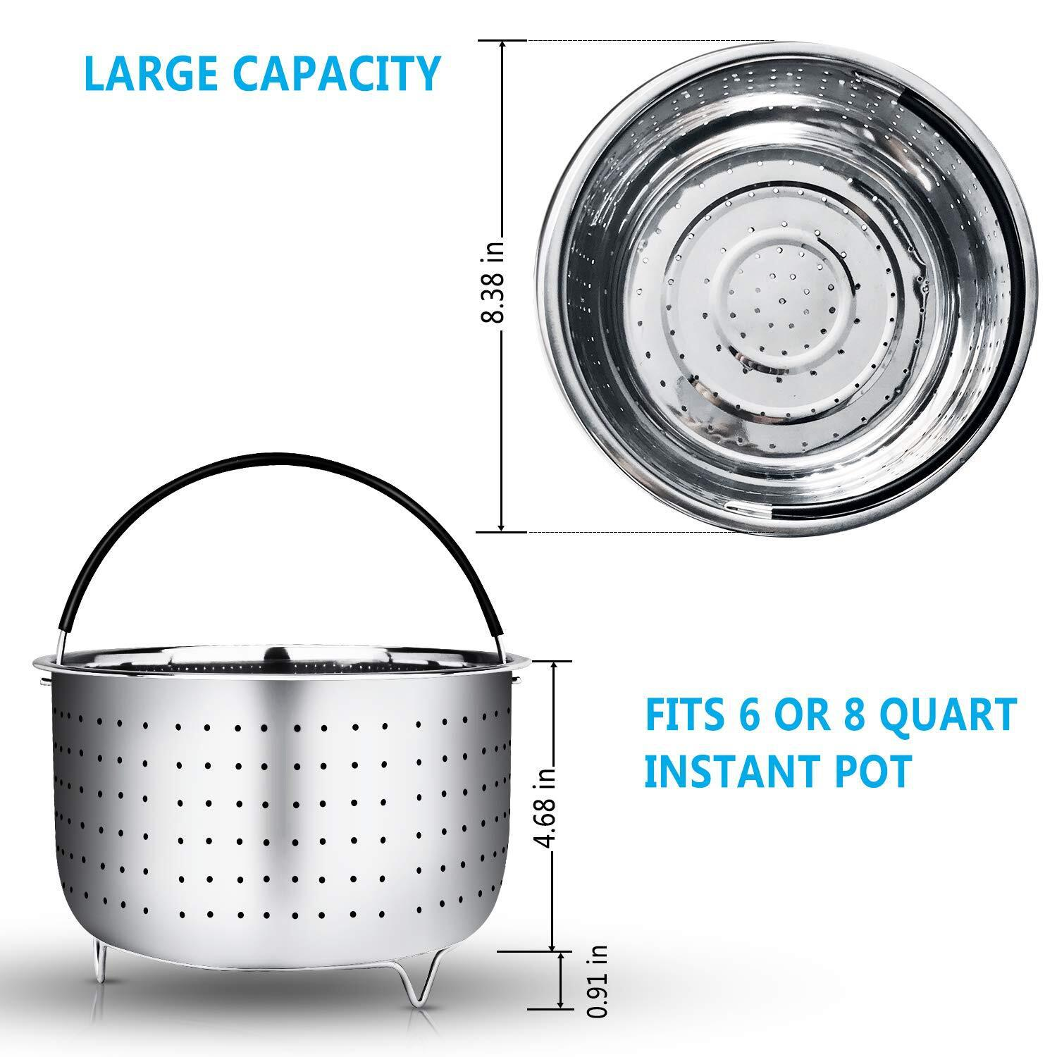 Stainless Steel Steam Basket 304 Material Washing Vegetable Basket Instant Pot Steaming Rack Applicable 5.6. 8QT