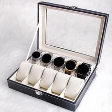 Portable boîte de montre en cuir dunité centrale Durable noir 10/12 fentes collier Bracelet Case organisateur bijoux présentoir accessoires