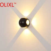 OLIXL 12W Round Ball Wall Lamp Bedroom Bedside Corridor Aisle Staircase Hotel Project Wall Light Outdoor Waterproof Wall Lights