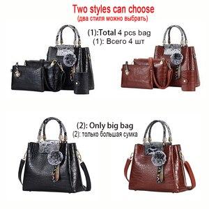 Image 3 - FUNMARDI 4PS komplet torebek damskich luksusowe krokodyl kobiece torebki PU skórzane torby na ramię marki torby kompozytowe Crossbody WLHB2024