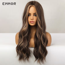 Emmor Long Wavy Ombre Brown with Blonde Synthetic Wigs Natural Hair Wigs for Women Cosplay Wigs Heat Resistant Fiber Hair Wig
