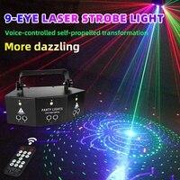 9 Eyes RGB DMX Scan Projector LED Disco Light RGB Laser Full Color Beam Light DJ Effect Projector Scanner Laser Stage Show Light
