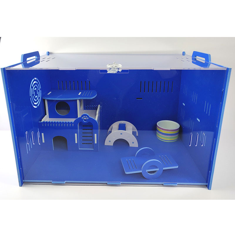 Blue Small Pet Acrylic Hamster Nest Dutch Cages Self-assembled Hamster Accessories