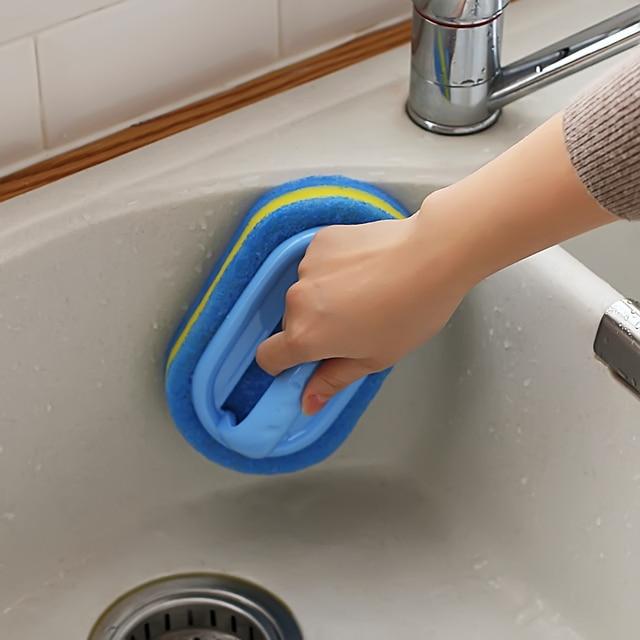 Kitchen Cleaning Bathroom Toilet Glass Wall Cleaning Bath Brush Plastic Handle Sponge Bottom Bathtub Brush Window Cleaner