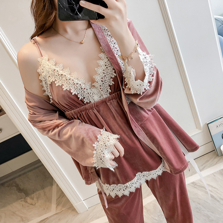 Velvet Bride Bridesmaide Wedding 3PCS Robe Set Sexy Lace Autumn Women Sleepwear Home Wear Pajamas Kimono Suit Nightwear M L XL