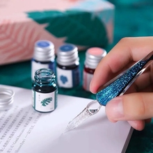 Glass Sky Crystal Writing-Supplies Stationery Glitter-Pen Gift-Box-Set Starry Handmade