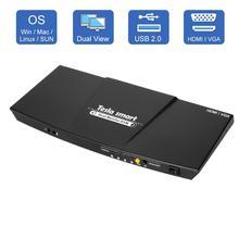 2 Poort Uitgang Hdmi + Vga Hdmi Dual Monitor Kvm Switch Hdmi Kvm Ondersteuning Usb 2.0 Poorten Toetsenbord En Muis tot 4K @ 30Hz Hdmi Kvm