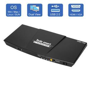 Image 1 - 2 Port Ausgang HDMI + VGA HDMI Dual Monitor Kvm switch HDMI KVM Unterstützung USB 2,0 Ports Tastatur und maus bis zu 4K @ 30Hz HDMI KVM