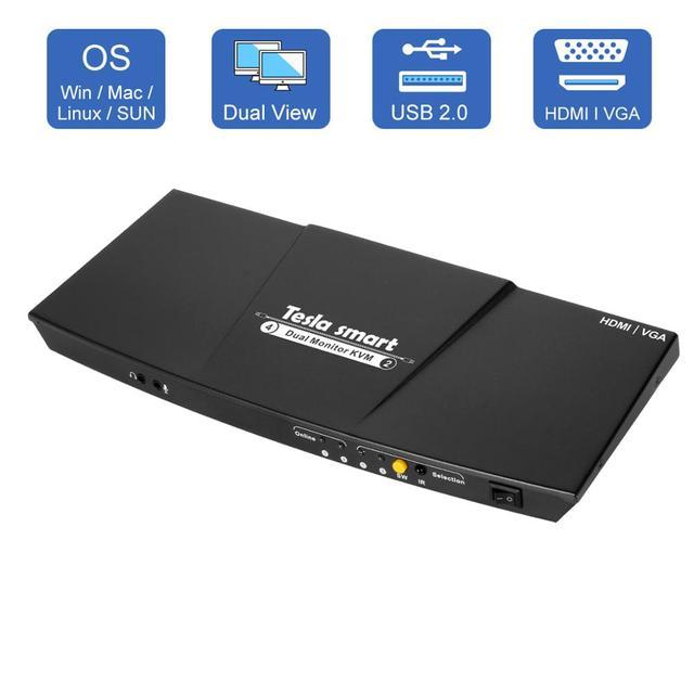 2 Port Ausgang HDMI + VGA HDMI Dual Monitor Kvm switch HDMI KVM Unterstützung USB 2,0 Ports Tastatur und maus bis zu 4K @ 30Hz HDMI KVM
