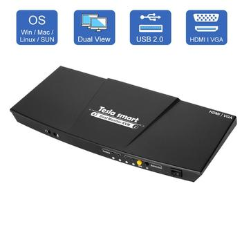 2 Port Output HDMI + VGA HDMI Dual Monitor KVM Switch HDMI KVM Support USB 2.0 Ports Keyboard and mouse Up to 4K@30Hz HDMI KVM 2 in 1 out 2 port usb hdmi kvm switcher switch 3840x2160 hdmi kvm switch splitter box for mouse keyboard monitor adapter