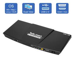 2 puertos de salida HDMI + VGA HDMI Monitor Dual KVM interruptor HDMI KVM soporte USB 2,0 puertos teclado y ratón hasta 4K @ 30Hz HDMI KVM