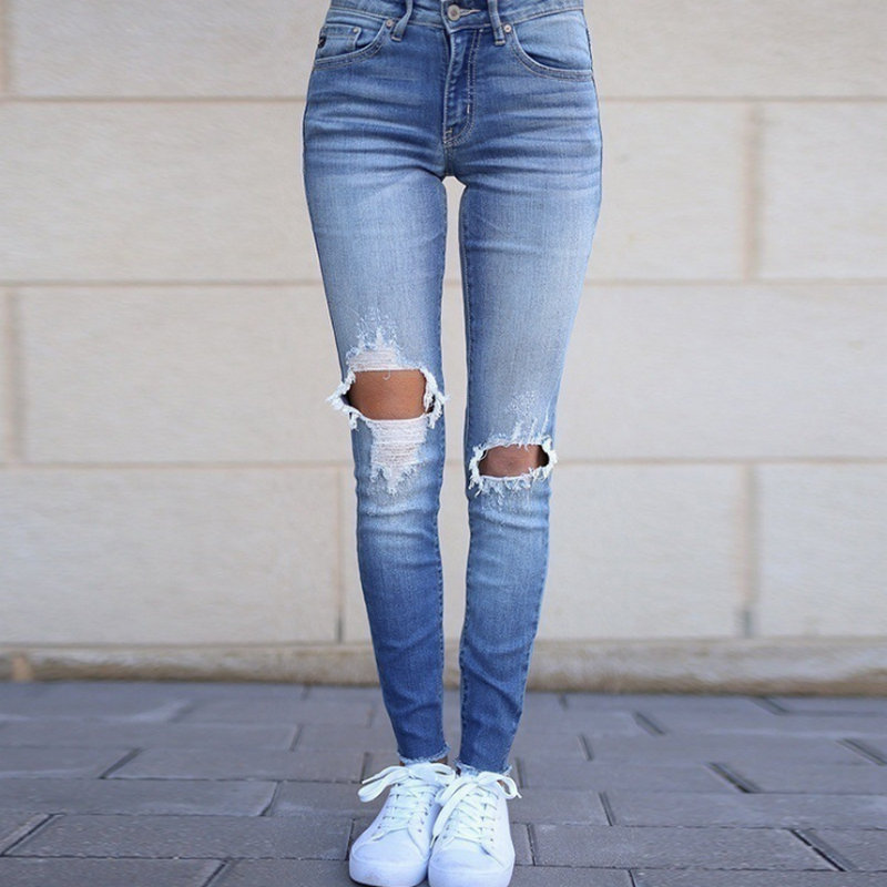 NEW 2020  Popular Hole Style Solid Woman Pants  Sexy Jeans 807