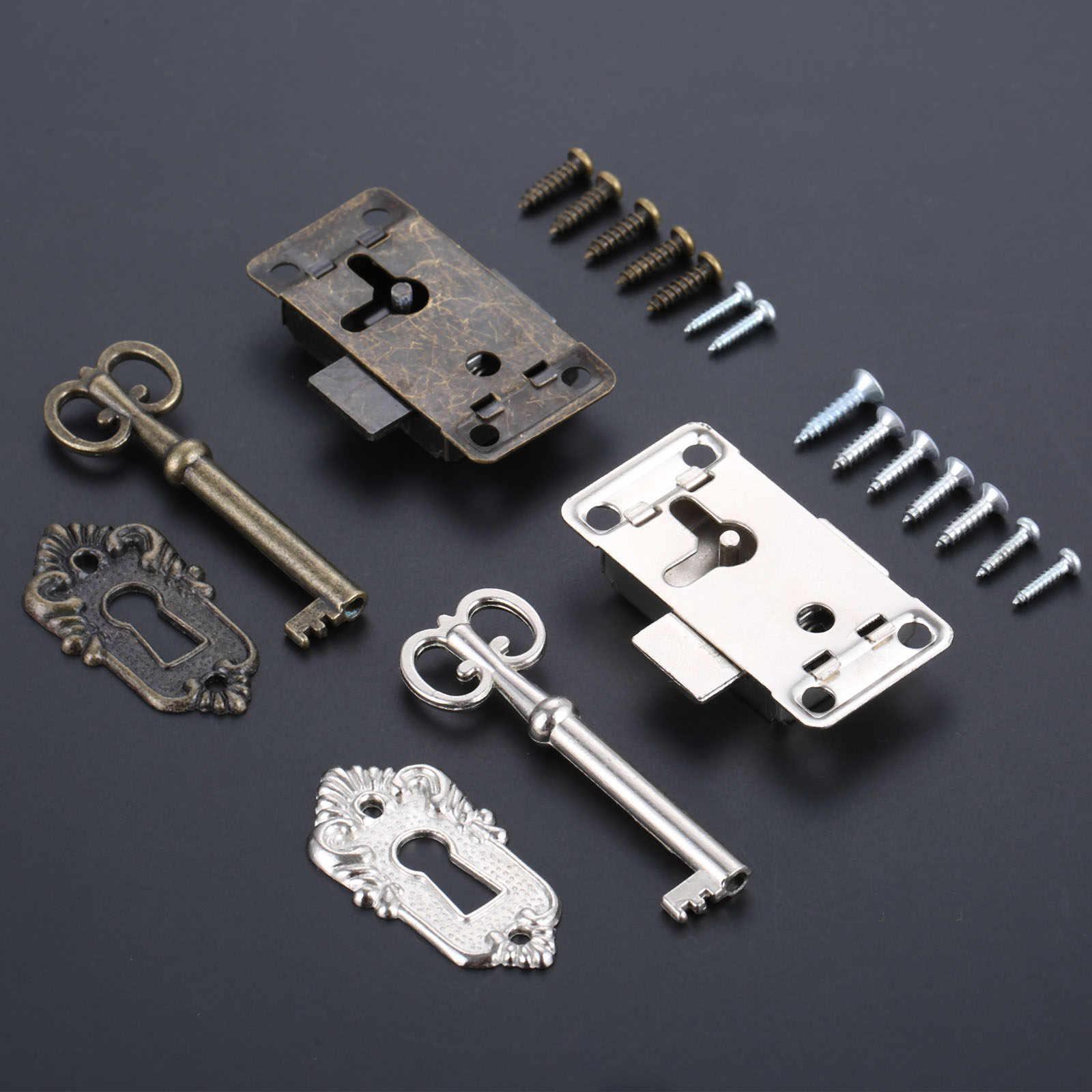 עתיק ברזל דלת מנעול מגירת ארון תכשיטי Archaize שלוס מלתחת ארון דלת מנעול + מפתח מסגר כלי סט מנעולים עם מפתח