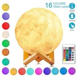 Светодиодный ночной Светильник 3D печать Луны лампа Перезаряжаемые 16 Цвета изменения 3D светильник сенсорный лунный свет Детский Светильник...
