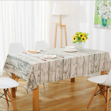 Simulation Wood Cotton Linen Tablecloth Decorative Cloth Rectangular Tablecloths Dining Table Cover