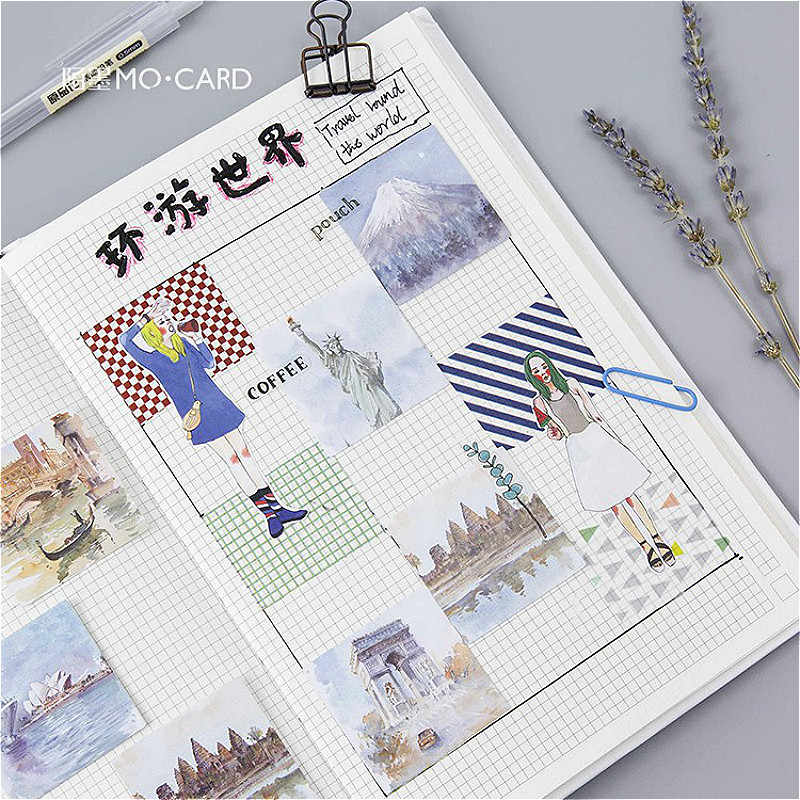 1 Pcs Indah Perjalanan Keliling Dunia Alat Tulis Stiker Planet Lengket Kertas Bersinar Kreatif Stiker Dekorasi Diary Scrapbooking