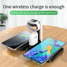4 em 1 carregador de telefone para iphone estação doca carregador sem fio rápido carregamento sem fio almofada para apple relógio carregador para airpods 2