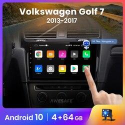 Автомагнитола AWESAFE PX9 для VW, мультимедийный видеоплеер на Android 2013, 2 ГБ + 32 ГБ, с GPS, для VW Golf 7, 2014, 10,0, 2015, Golf7, типоразмер 2 din