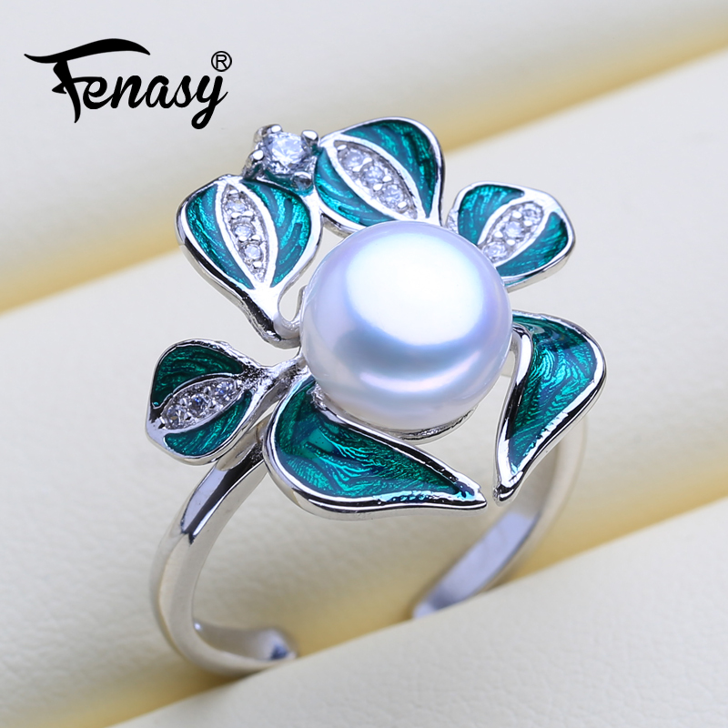 FENASY Pearl Jewelry Natural Pearl Rings White Pearl Bohemian Adjustable Green Stones Rings For Women Jewelry Box
