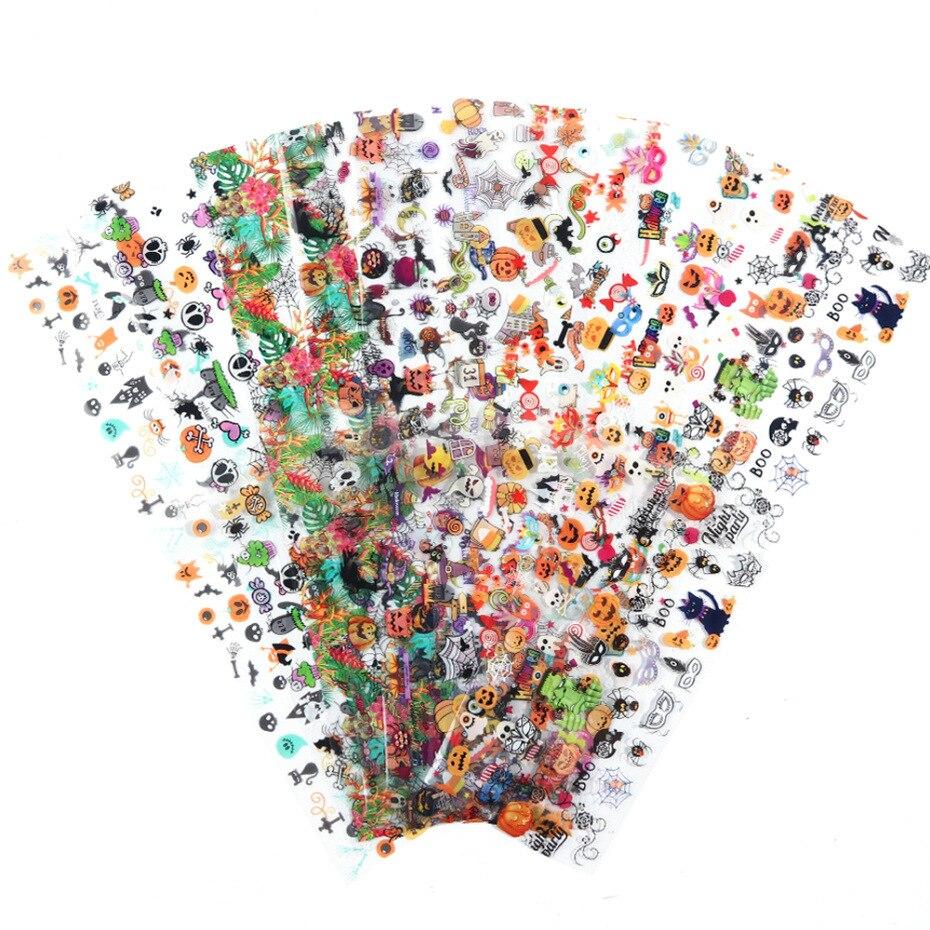 """50 шт Хэллоуин серия ногтей фольги наклейки смешанный узор наклейка """"тыква"""" переводные наклейки DIY инструмент для украшения ногтей для нейл-арта"""